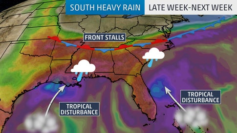 Stalling Front, Tropical Disturbances to Bring Threat of Heavy Rain to the South Into Next Week