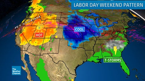 Labor Day Holiday Weekend Forecast: Wet Southeast, Cool Midwest, Hot West