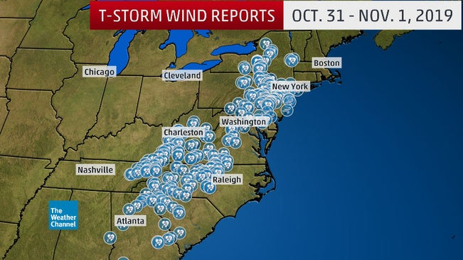 severe thunderstorms with damaging winds tornadoes and flash flooding slammed the east on halloween the weather channel articles from the weather channel weather com weather channel