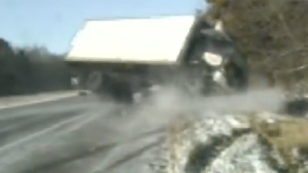 Watch this terrifying rollover on an icy road