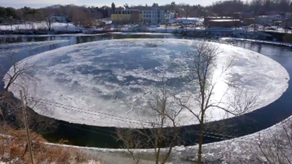 Ice Circle Spinning on River in Maine