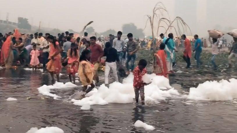 Toxic Foam, Deadly Smog Plague India's New Delhi During Hindu Holiday