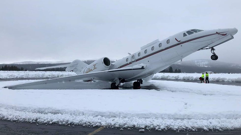 Snow Leaves Plane in Tail-Stand Position