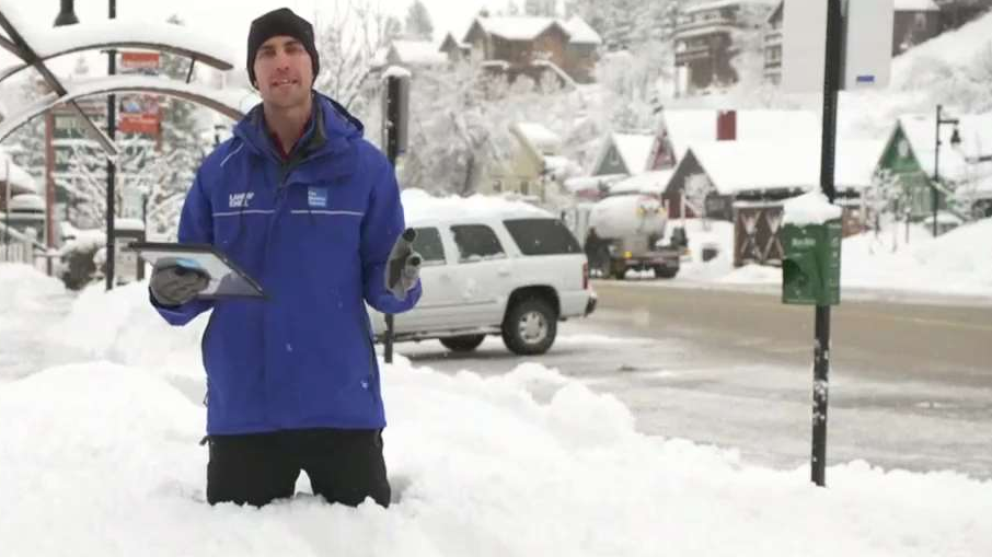 Standing in Three Feet of Snow in Truckee, California