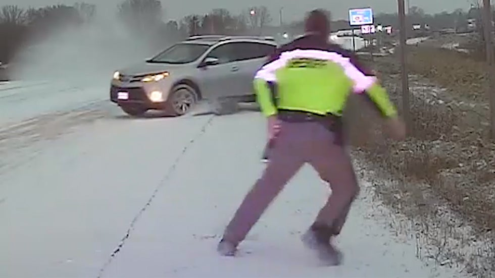 Wisconsin Deputy Almost Hit by Sliding SUV on Icy Road