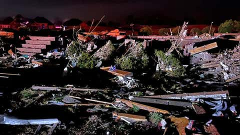Storm damage is seen after a tornado struck Brunswick County, N.C., early Tuesday, Feb. 16, 2021. (Facebook/ Brunswick County Sheriff's Office, NC)