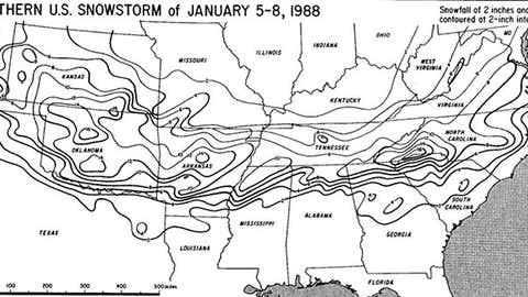 Map of total snowfall from the Jan. 5-6, 1988 winter storm.