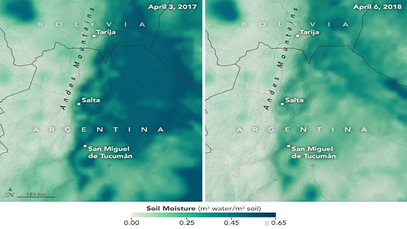 Multi-month Billion-Dollar Drought Disaster 1. A severe lack of rainfall over southern South America during the summer of 2017 - 2018 led to the worst drought in decades over portions of Argentina and Uruguay. Soil moisture maps produced with data collected on April 3, 2017 (left), and April 6, 2018 (right), by NASA's Soil Moisture Active Passive (SMAP) satellite. Dark green and blue areas are progressively wetter. Pronounced drying in 2018 compared to 2017 is apparent.