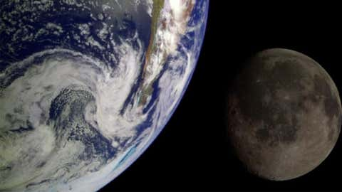 During its flight to Jupiter in 1992, NASA's Galileo spacecraft returned images of the Earth and Moon. Separate images were combined to generate this view.