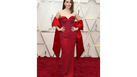 Kaitlyn Dever poses on the red carpet donning a sustainable Louis Vuitton gown at the 92nd Academy Awards on February 9, 2020  in  Los Angeles, California. (Adriana M. Barraza/WENN)