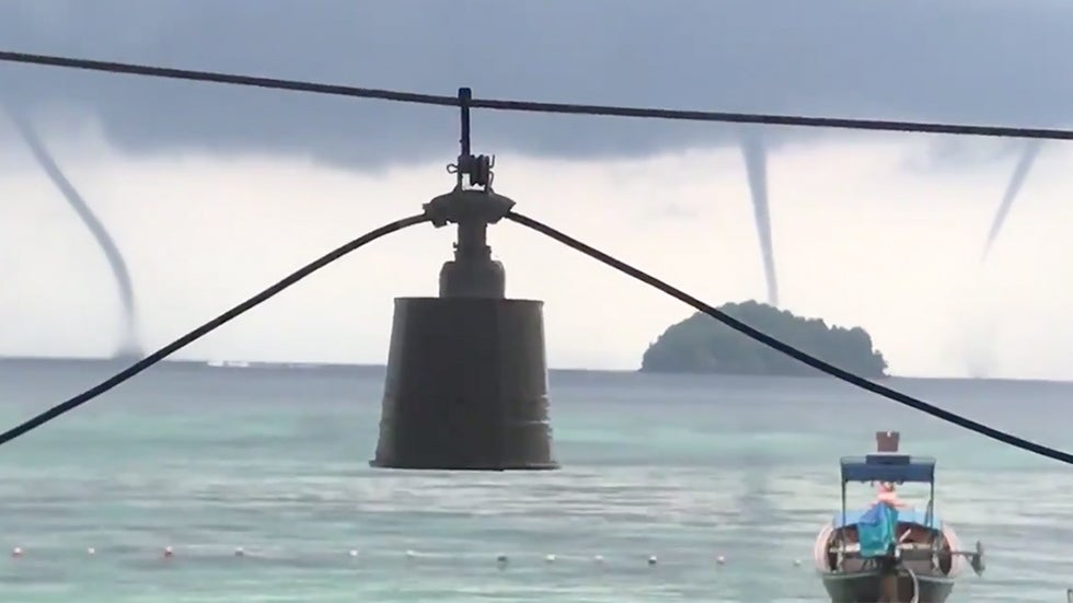 Triple Waterspouts Form off Coast of Thailand