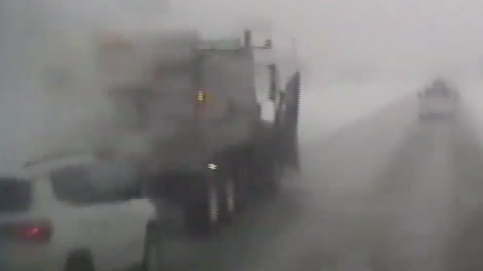 Watch: Driver Slams into Snowplow During Whiteout in Wisconsin