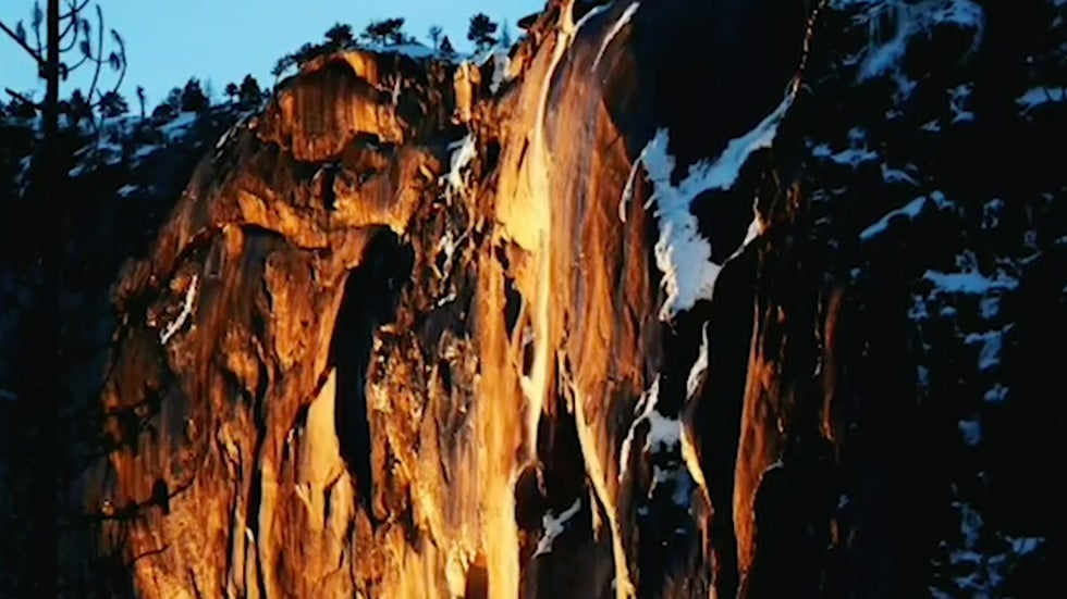 This Waterfall Glows Like Molten Lava