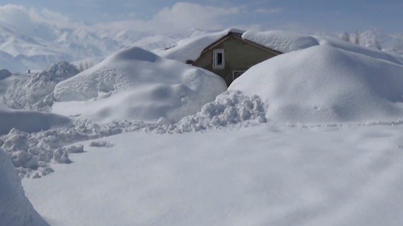 Houses Buried in 20 Feet of Snow in Turkish Village
