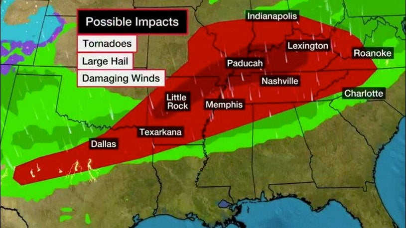 Threat of Severe Thunderstorms Overnight Over Wide Area