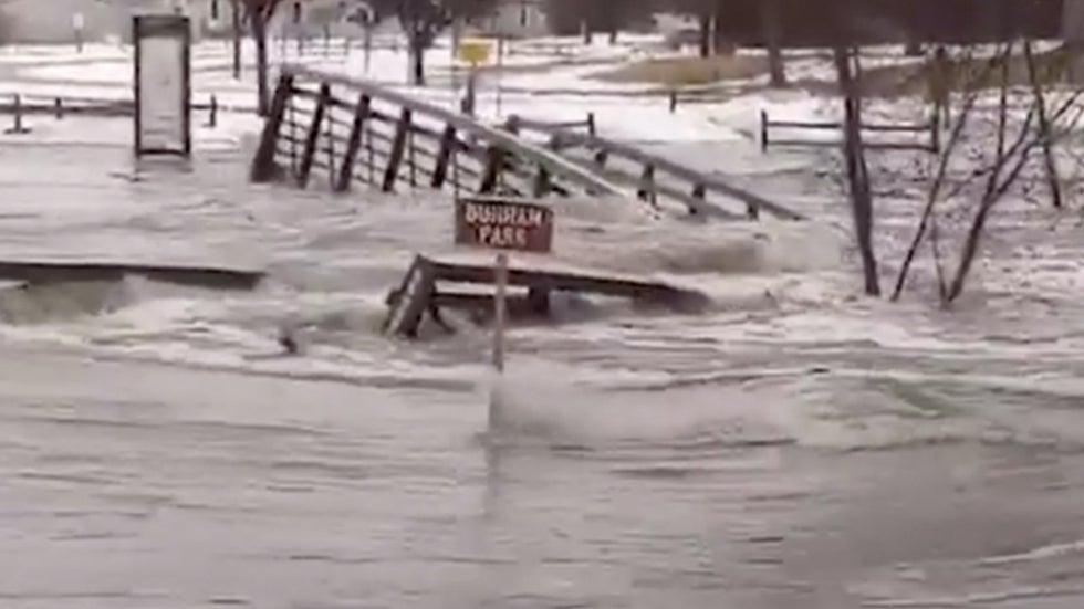 South Dakota Park Inundated, Walking Bridge Washed Away by Floodwaters