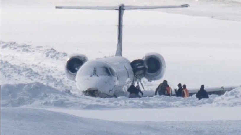 Passenger airplane missed track during landing in snow
