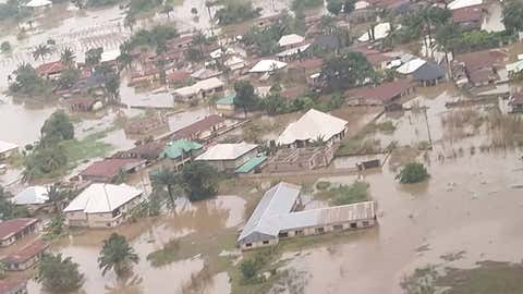 An aerial view of houses submerged by flooding in the Anambra state of Nigeria. (Nigerian National Emergency Management Agency)