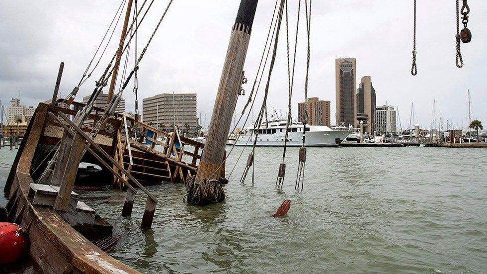 Harvey-Damaged Columbus Ship Replica Sank Again in Texas Rain