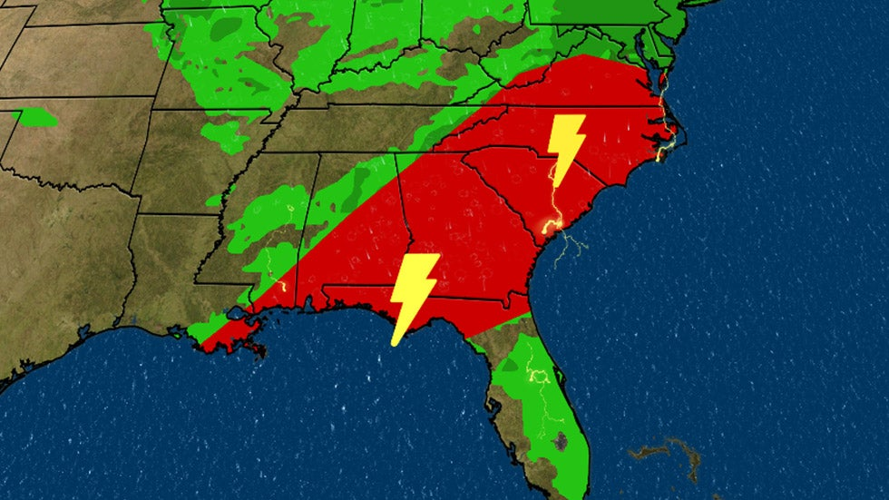 Severe Threat, Flash Flooding as Storms Moves East