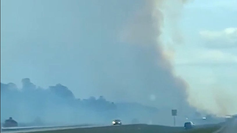Watch as Brush Fire Jumps Over Alligator Alley in Collier County, Florida
