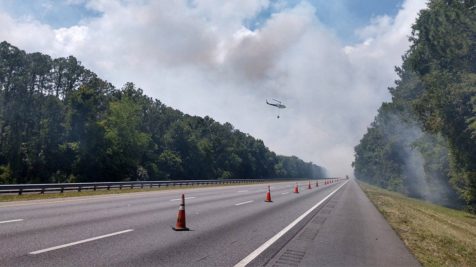 Florida Wildfire Closes Interstate 95 in Both Directions North of Jacksonville