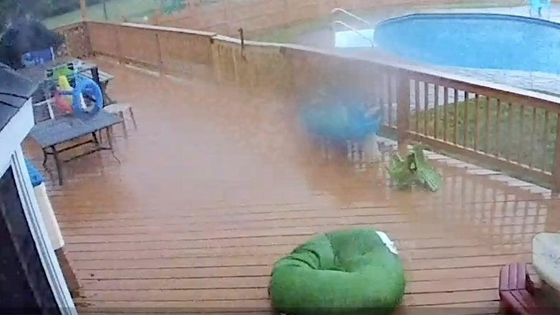 Watch Tornado Rearrange Deck Furniture in New Jersey