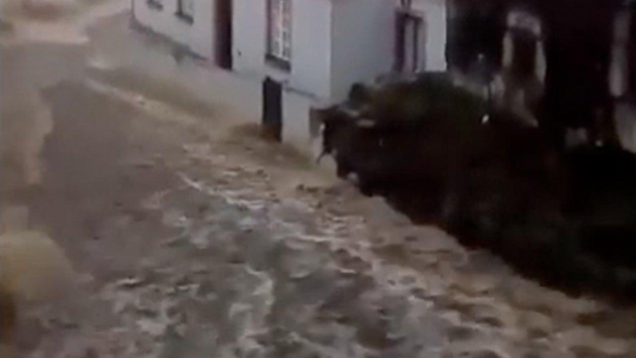 Heavy Rain Turns Road into Raging River