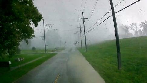 Dashcam Captures Twister Crossing Road in Louisiana