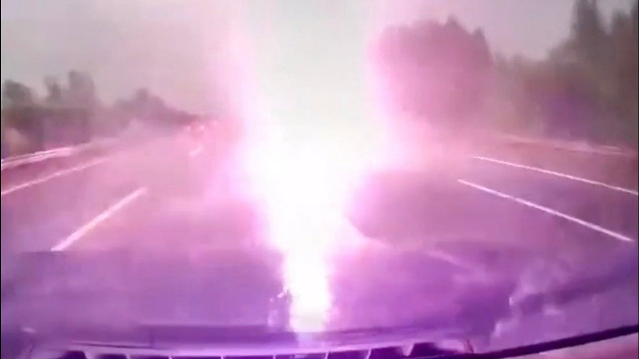 Watch Moment Car is Struck by Lightning