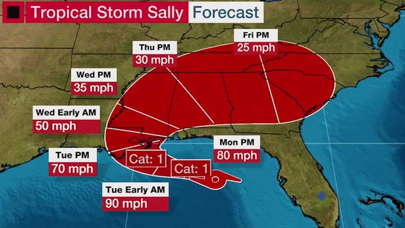 Hurricane Warning Issued for Parts of Louisiana and Mississippi Ahead of Tropical  Storm Sally | The Weather Channel