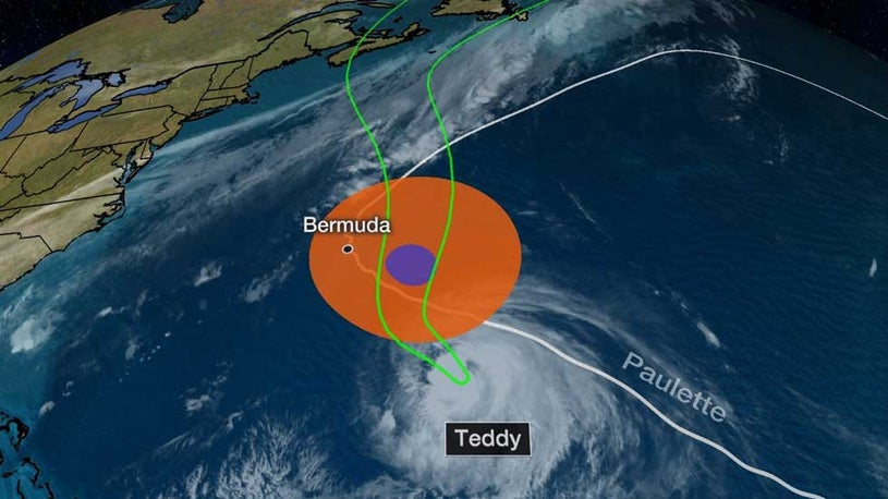 Hurricane Teddy Should Track East of Bermuda and Then Toward Canada