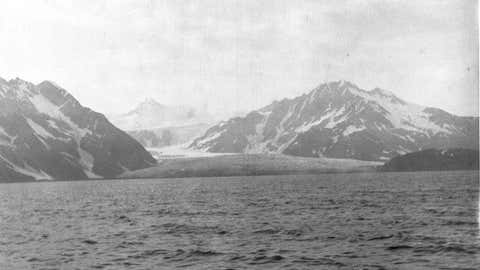 Pedersen Glacier is photographed from Aialik Bay in Alaska in 1909. (USGS/ U.S. Grant)
