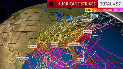 All hurricane strikes in the U.S. since 1985.