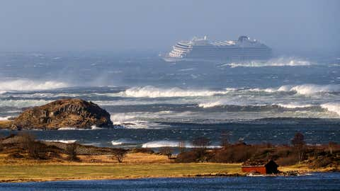 The cruise ship Viking Sky sent a mayday signal because of engine failure in windy conditions near Hustadvika, off the west coast of Norway, Saturday, March 23, 2019. The Viking Sky was forced to evacuate 479 passengers by helicopter before engines could be restarted. (Odd Roar Lange / NTB scanpix via AP)