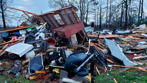 This photo provided by Bossier Parish Sheriff's Office shows damage from Friday nights severe weather, including the home of an elderly in Bossier Parish, La., on Saturday, Jan. 11, 2020.  The Bossier Parish Sheriff's Office said that the bodies of an elderly couple were found Saturday near their demolished trailer by firefighters. A search for more possible victims was underway.  (Lt. Bill Davis/Bossier Parish Sheriff's Office via AP)