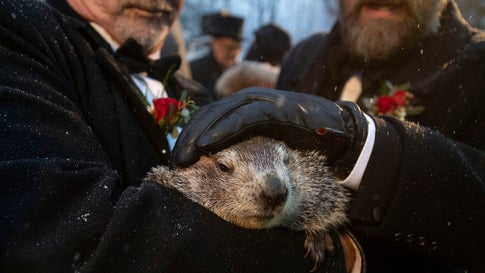 Groundhog Club co-handlers John Griffiths and Al Dereume hold Punxsutawney Phil, the weather prognosticating groundhog, during the 134th celebration of Groundhog Day on Gobbler's Knob in Punxsutawney, Pennsylvania, on Sunday, February 2, 2020. (AP Photo/Barry Reeger)