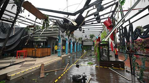 A commercial area is damaged after the passing of Hurricane Pamela in Mazatlan, Mexico, Wednesday, Oct. 13, 2021. Hurricane Pamela made landfall on Mexico's Pacific coast just north of Mazatlan on Wednesday, bringing high winds and rain to the port city. (AP Photo/Roberto Echeagaray)