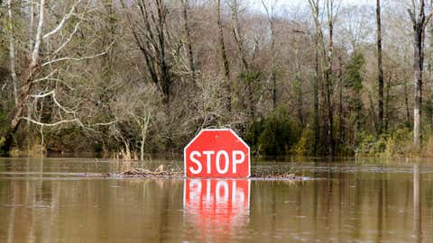 A stop sign is partially submerged in water from the flooded Okatibbee River near the Meridian Regional Airport in Meridian, Mississippi, Friday, Dec. 28, 2018. (Paula Merritt/The Meridian Star via AP)