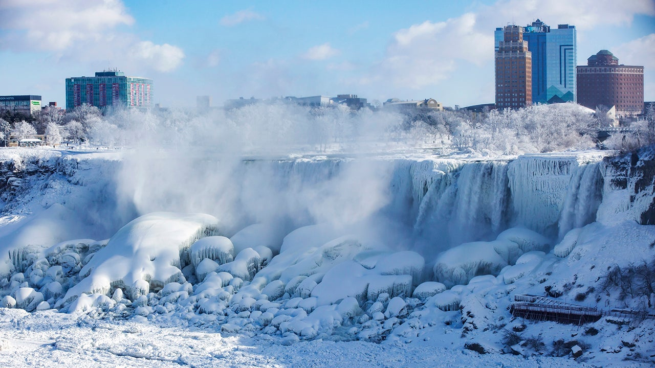 Ice and water flows over the American Falls, seen from Niagara Falls, Ontario, Canada, Thursday, Jan. 31, 2019.  (Tara Walton/The Canadian Press via AP)