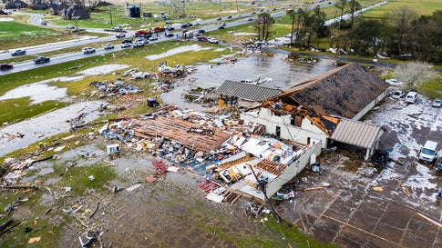 A tornado destroyed the Hope Baptist Church and School building in Alexandria, Louisiana, on Monday, December 16, 2019. No one was injuried. (Brian Emfinger/Live Storms Media)
