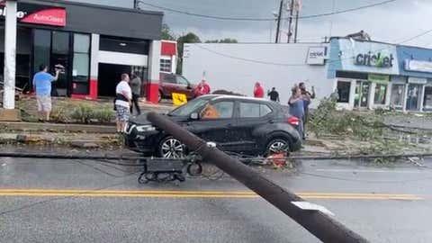 Tornado damage in Annapolis, Maryland, on Wednesday, Sept. 1, 2021. Jarvin Hernandez via Facebook