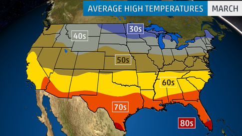 March Temperature Outlook Cooler Pattern To Continue In The West - Us-map-of-temperatures