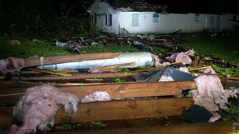 A tornado struck north of Bastrop, Louisiana, on Wednesday, April 7, 2021, damaging several homes and knocking down trees. (Live Storms Media)
