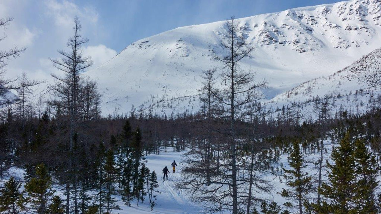 Backcountry skiers hike the Chic-Choc mountains in the region of Gaspésie in Quebec, Canada, on March 2, 2019. (Julien Bessett/AFP/Getty Images)