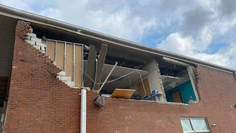 Robert Churchwell Museum Magnet Elementary School in Nashville was one of three schools damaged when a tornado hit the Tennessee city on Tuesday, March 3, 2020. An exterior brick wall was partially blown out and windows were broken. (Facebook/Metro Nashville Public Schools)