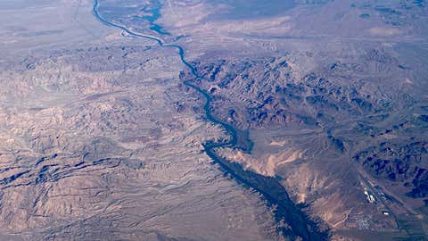 This aerial view shows the Colorado River, south of Las Vegas, on February 6, 2020. (Photo by Daniel SLIM / AFP) (Photo by DANIEL SLIM/AFP via Getty Images)