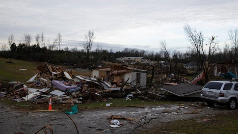 COOKEVILLE, TN - MARCH 03:  A home is shown destroyed by high winds from one of several tornadoes that tore through the state overnight on March 3, 2020 in Cookeville, Tennessee. At least 19 people were killed and scores more injured in storms across the state that caused severe damage in downtown Nashville. (Photo by Brett Carlsen/Getty Images)