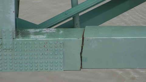 This photo shows the crack that shut down the Interstate 40 bridge across the Mississippi River on Tuesday, May 11, 2021. (Tennessee Department of Transportation via Twitter)
