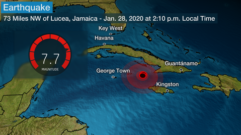 Strong Magnitude 7.7 Earthquake Strikes Near Jamaica and Cuba